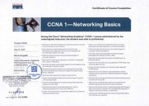 Certyfikat CISCO instalacji sieci komputerowych