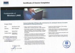 Certyfikat CISCO uprawniająca do instalacji bezprzeowodowej sieci LAN