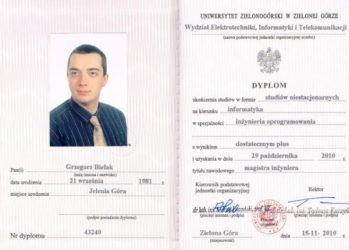 Dyplom magisterki inżynierii oprogramowania