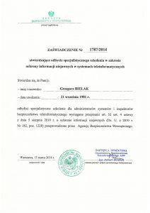 Certyfikat specjalistycznego szkolenia w zakresie ochrony informacji niejawnych w systemach teleinformatycznych