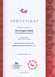 Certyfikat szkolenia z zakresu DSC
