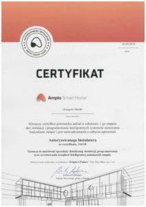 Certyfikat Ampio Autoryzowany Instalator