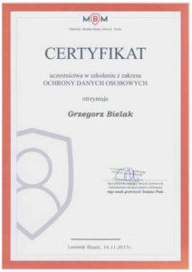 Certyfikat Ochrona Danych Osobowych Bielak Systemy