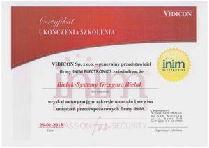 Certyfikat Vidicon ppozarowe