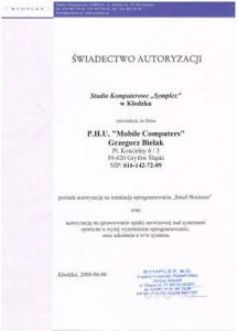 Swiadectwo do autoryzacji programów firmy Syplex