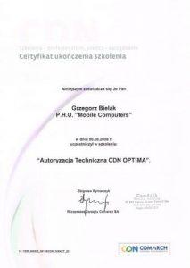 Certfikat uprawniający do autoryzacji technicznej programu CDN Optima