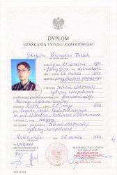 Dyplom uzyskania tytułu zawodowego Technik Elektronik