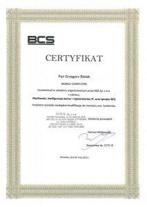 Certyfikat uprawniający do obsługi systemów IP firmy BCS