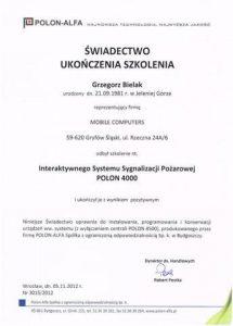 Świadectwo ukończenia szkolenia montażu systemów sygnalizacji pozaru Polon-Alfa