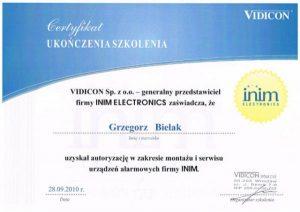 Certyfikat ukończenia szkolenia montażu systemów alarmowych INIM