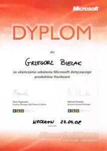 Dyplom za ukończenie szkolenia montażu urządzeń peryferyjnych Microsoft