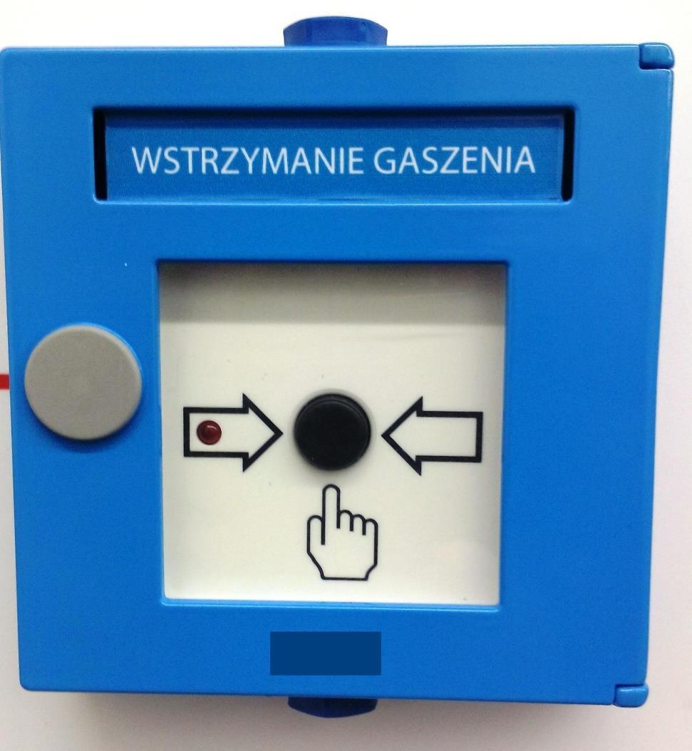 HM/5/11/18/02 INIM Przycisk STOP gaszenia w kolorze niebieskim