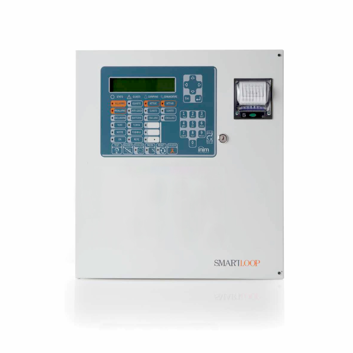 SmartLoop1010/P-G INIM Adresowalna centrala przeciwpożarowa z obsługą do 240 urządzeń wyposażona w klawiaturę i wyświetlacz, możliwość rozbudowy o drukarkę termiczną