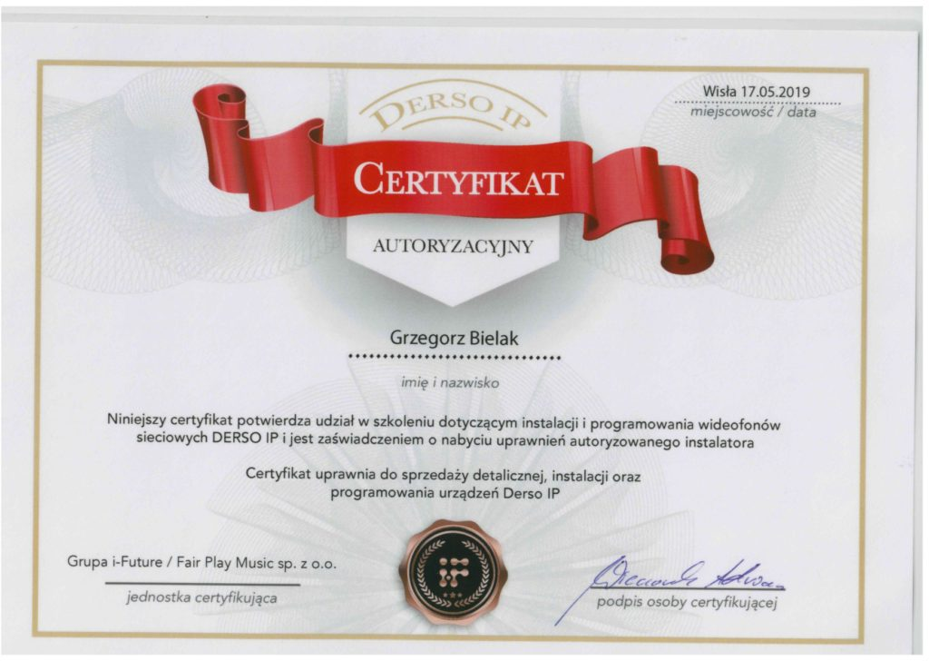 Certyfikat szkolenia dotyczącego instalacji i programoawnia wideofonów sieciowych DERSO IP