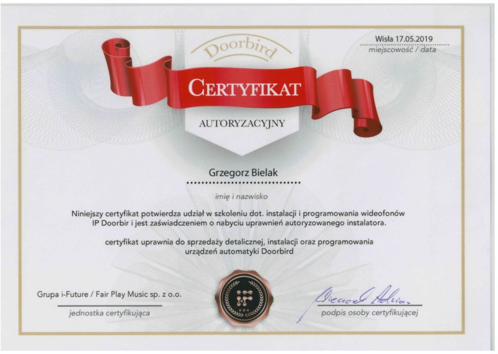 Certyfikat szkolenia dotyczącego instalacji i programoawnia wideofonów IP Doorbird
