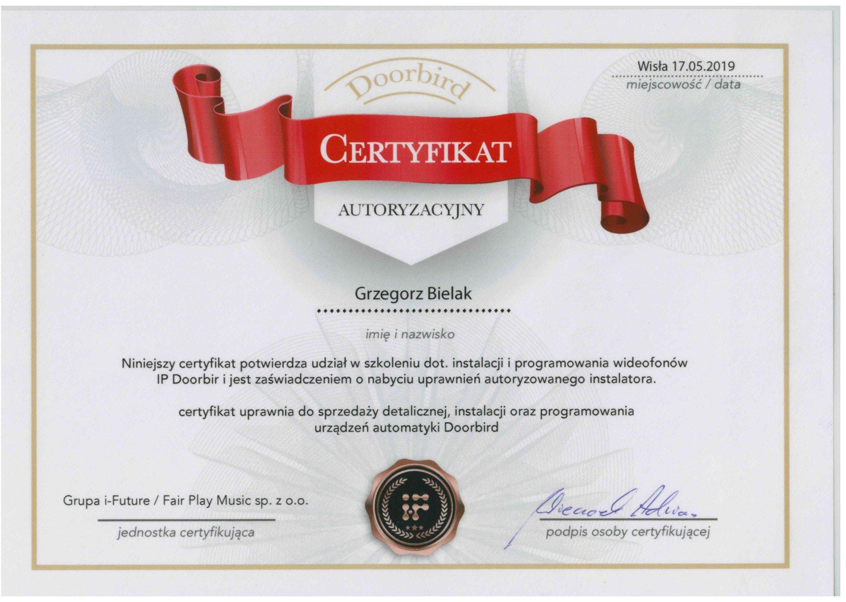 Certyfikat szkolenia dotyczącego instalacji i programowania wideofonów sieciowych DERSO IP