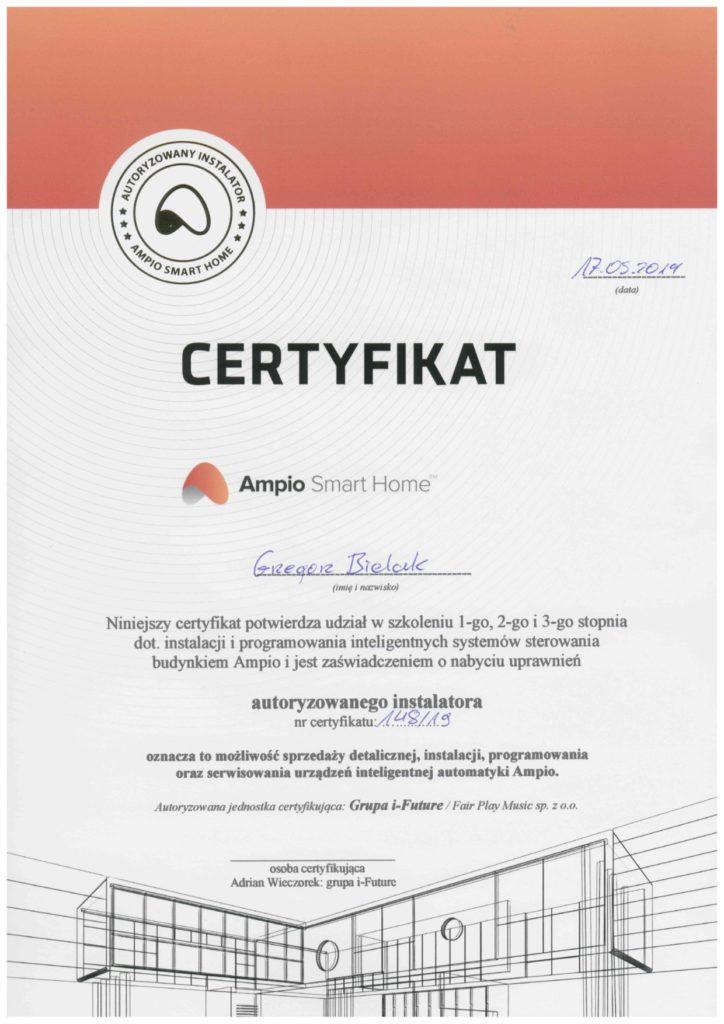 Certyfikat szkolenia dotyczącego instalacji i programowania inteligentnych systemów zarządzania budynkiem