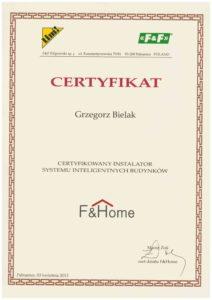 Certyfikat F&F Bielak-Systemy