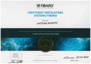 Certyfiakt ukończenia szkolenia inteligentnego domu Fibaro
