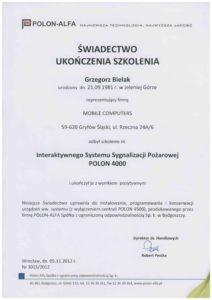 Certyfikat Interaktywny System Sygnalizacji Pożarowej POLON