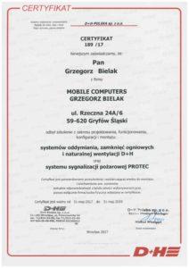 Certyfikat systemy oddymiania, zamknięc ogniowych, i naturalnej wentylacji D+H