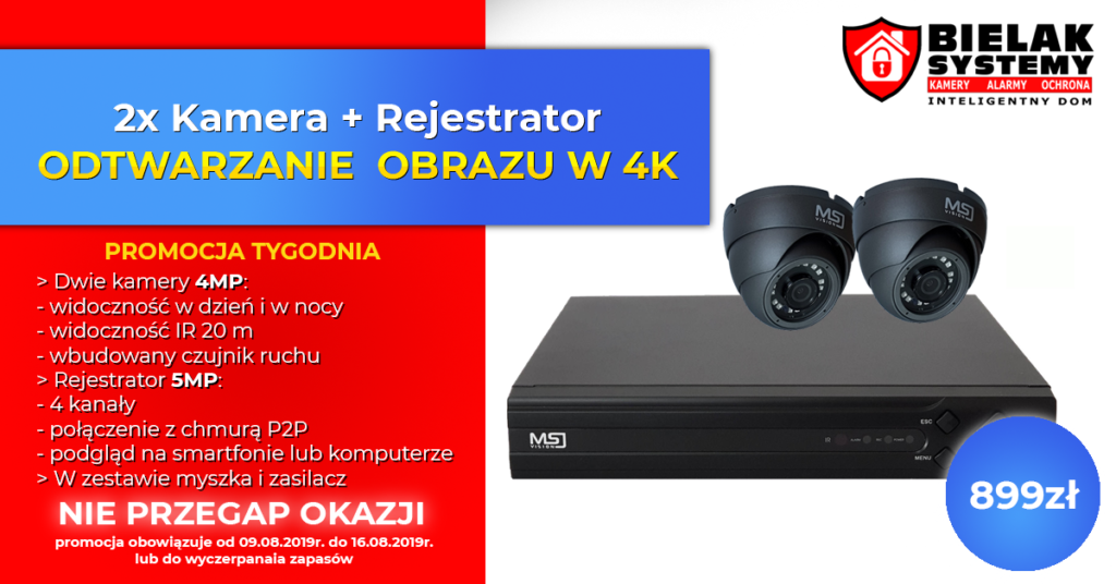 Promocja Dwie Kamery i Rejestrator OKAZJA Bielak-Systemy