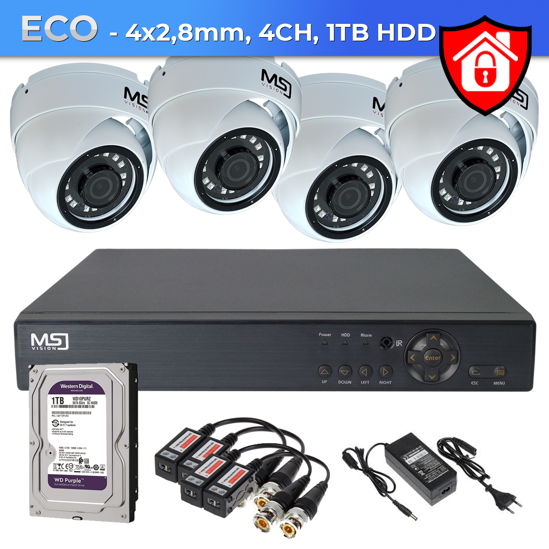 Zestaw 4xKamera + rejestrator cyfrowy + 1TB HDD ECO
