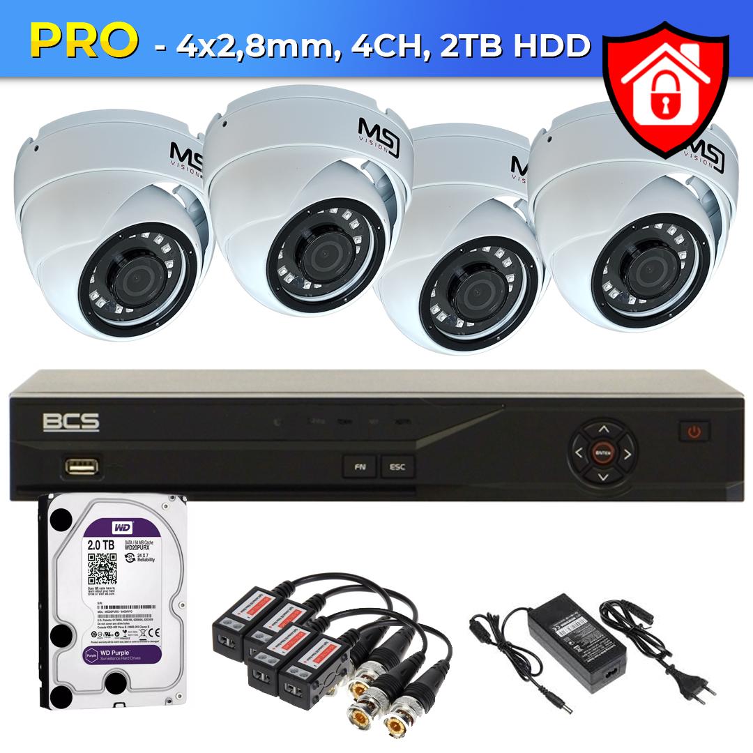 Zestaw 4xKamera + rejestrator cyfrowy + 2TB HDD PRO