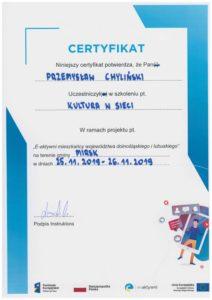 Przemysław Chyliński Certyfikat Kultura w Sieci Bielak Systemy