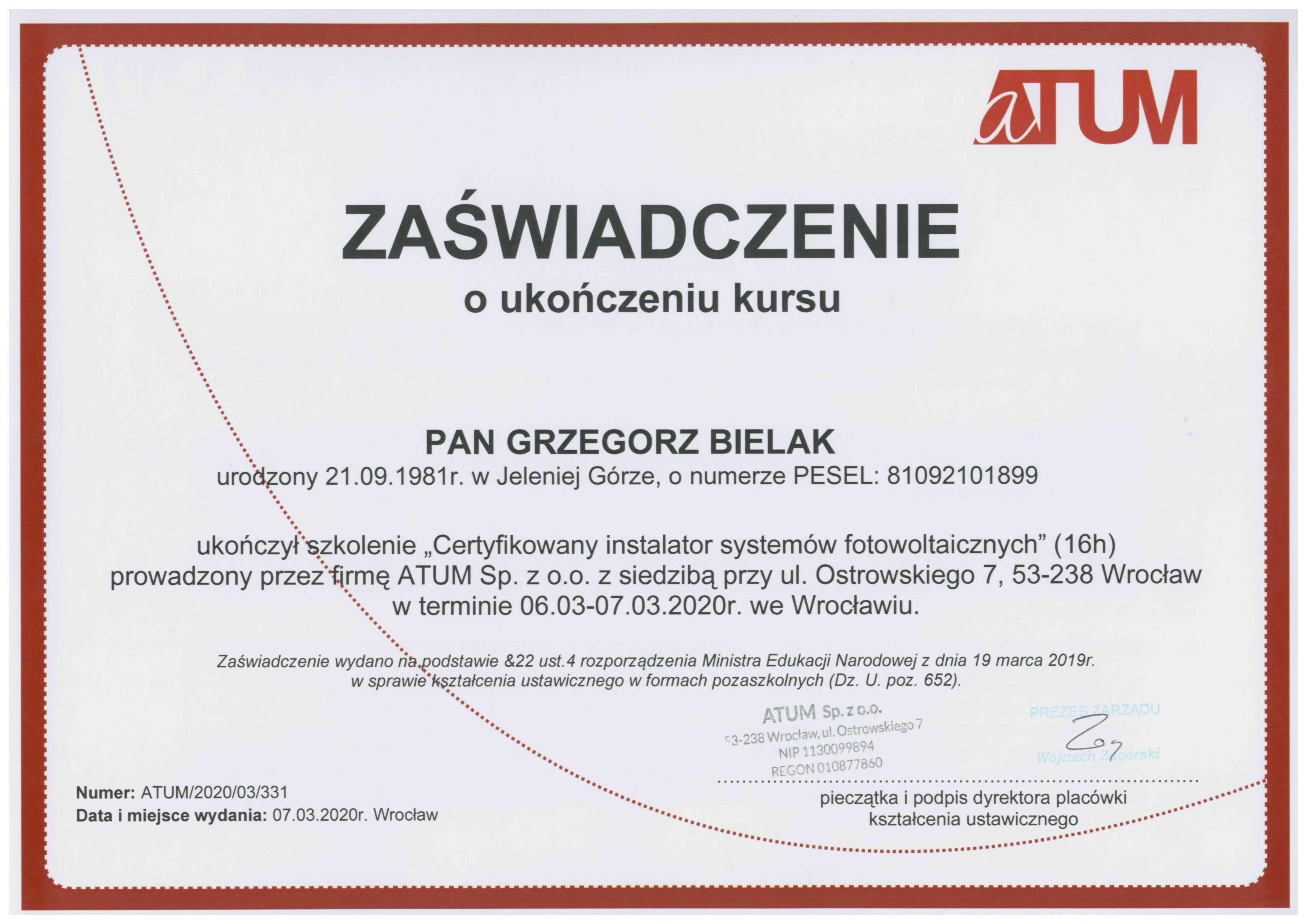 Certyfkat szkolenie Certyfikowany instalator systemów fotowoltaicznych