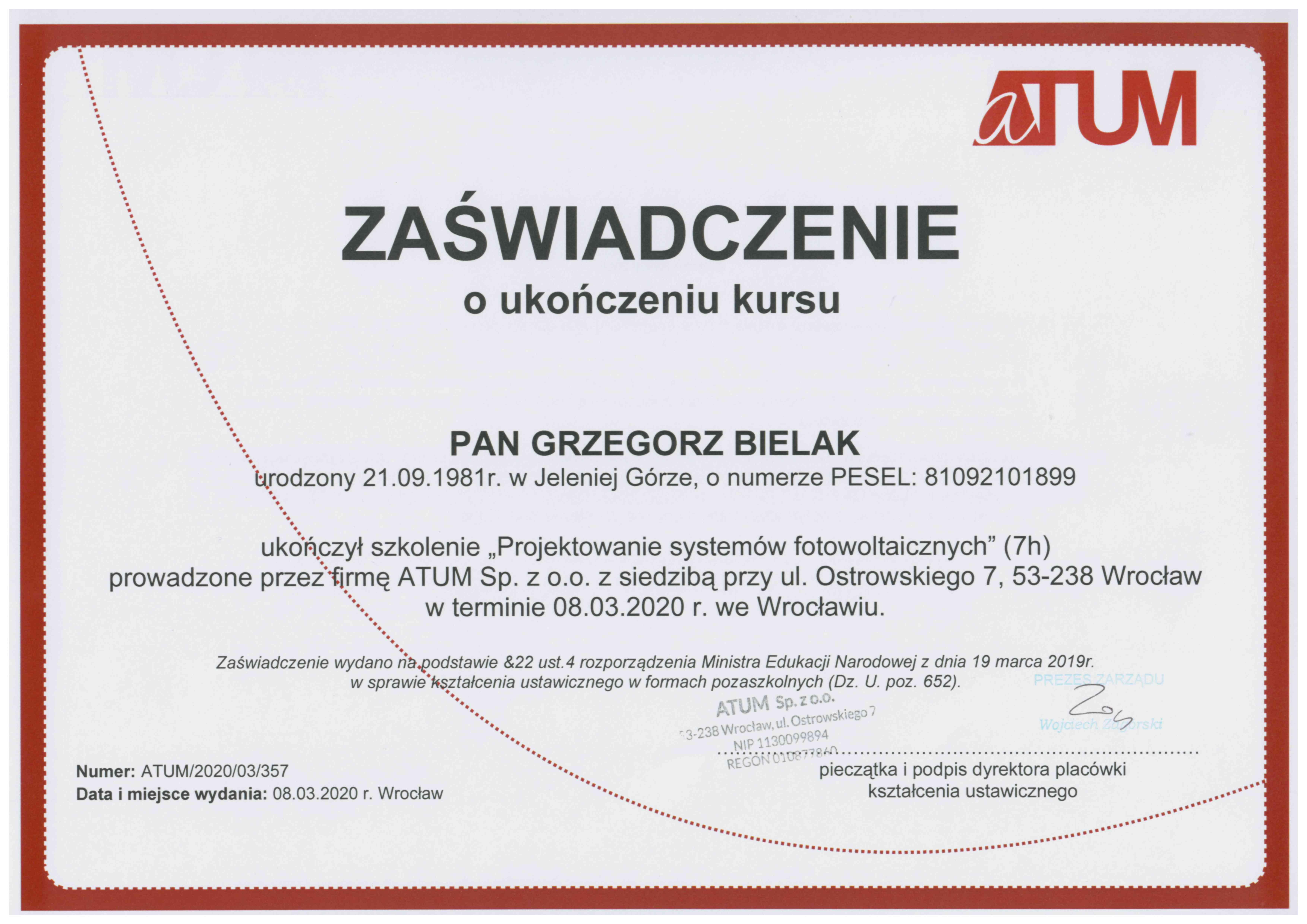 Certyfikat projektowanie systemów fotowoltaicznych Atum