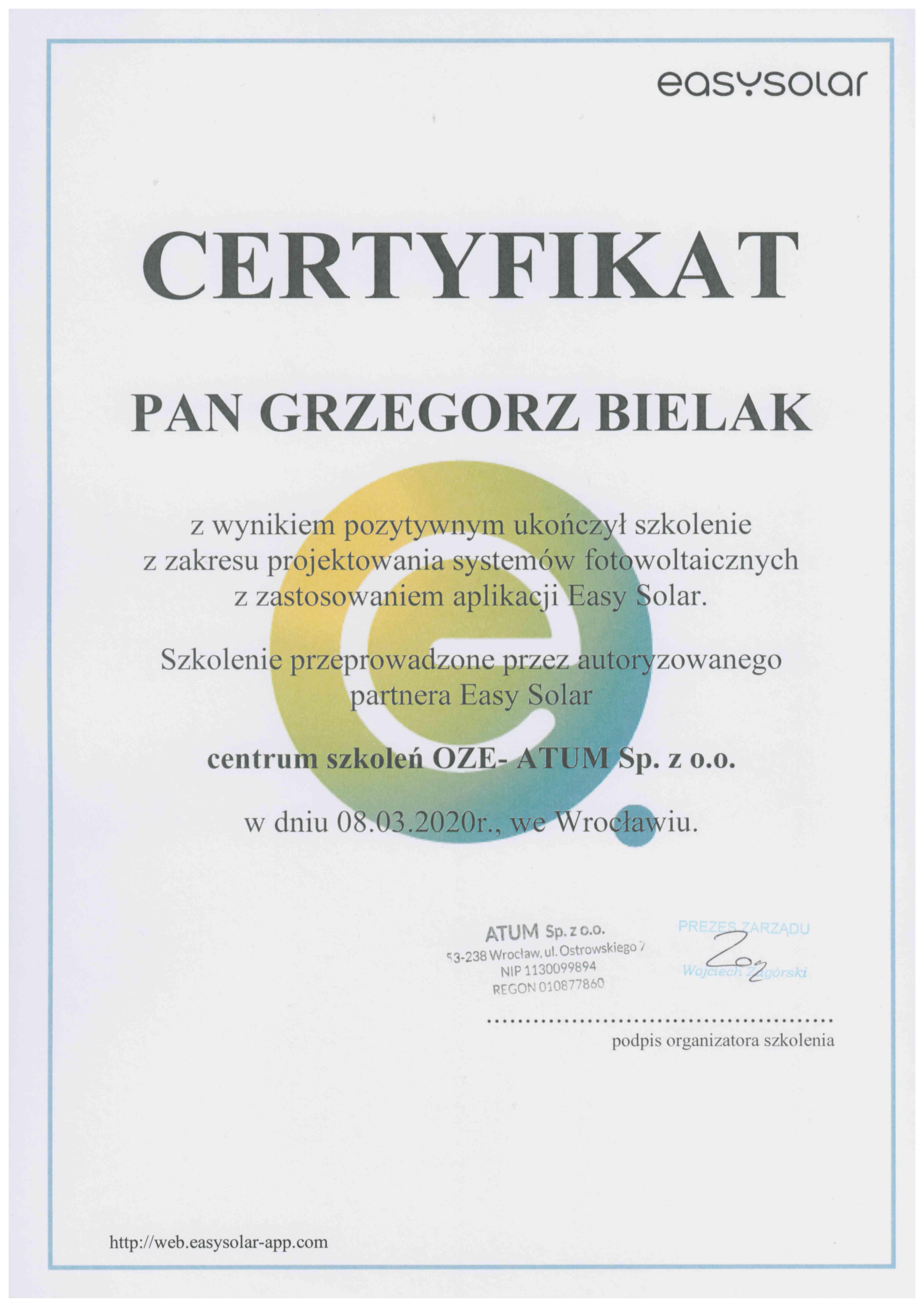Certyfkat szkolenia projektowanie systemów fotowoltaicznych