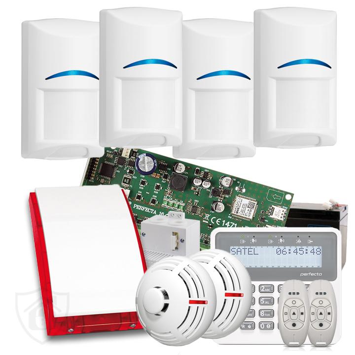 Zestaw alarmowy Perfecta 4 czujniki ruchu, 2 czujniki dymu + klawatura