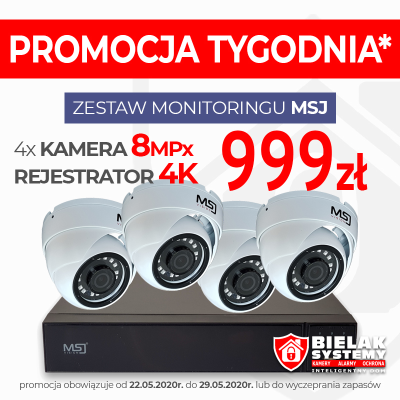 monitoring msj vision zestaw 8mpx 4x kamera + rejestrator 4k