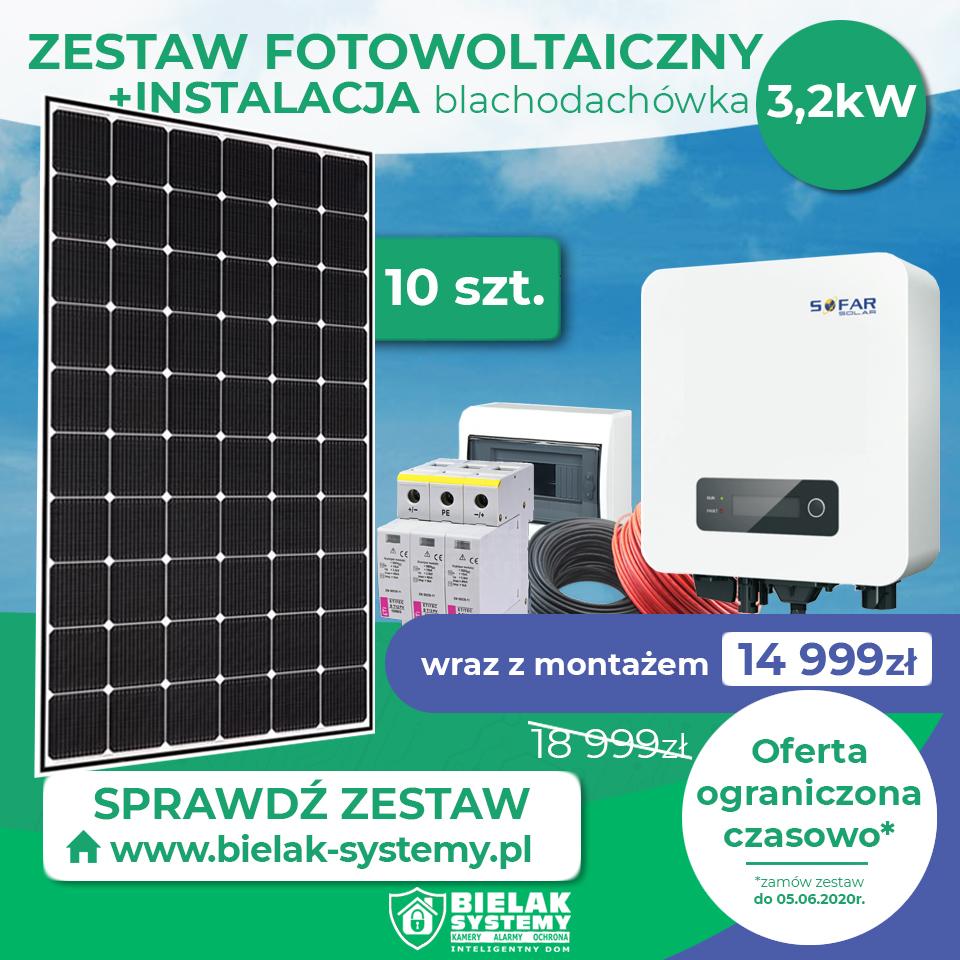 Zestaw fotowoltaiczny dla domu i małej firmy 3,2kW 10 paneli rabat