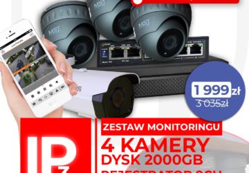 Zestaw monitoringu dysk 2tb, rejestrator 4ch, switch, 4 kamery